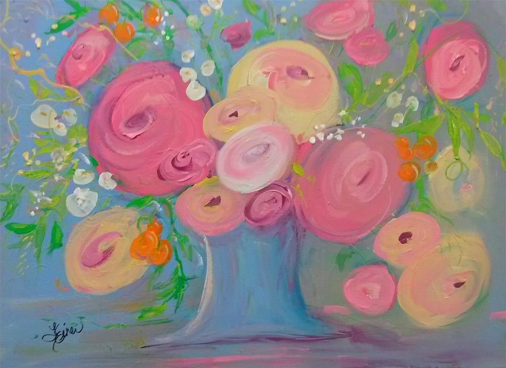 """""""Whimsical Bouquet"""" original fine art by Terri Einer"""