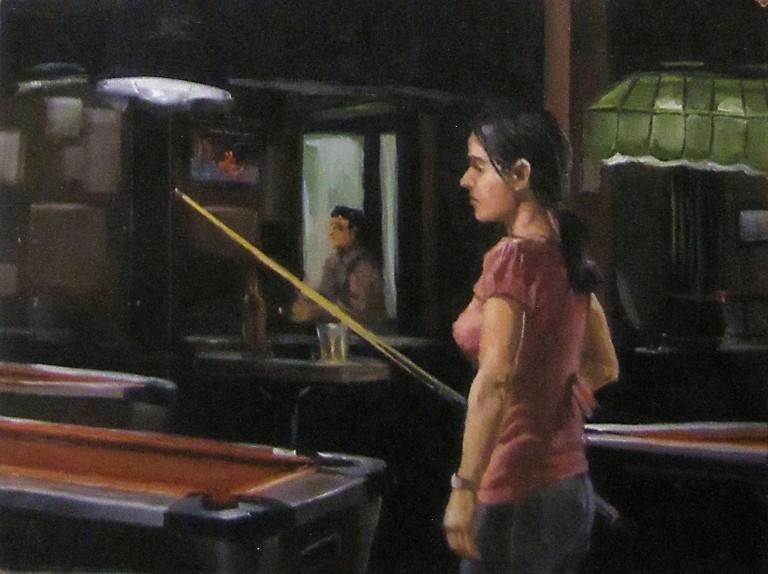 """56 - Bay Billiards Study"" original fine art by Edward Watson"