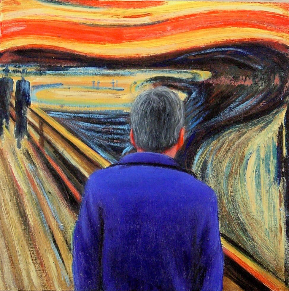 """""""Self Portrait With The Scream- Portrait Of The Artist With Painting By Edvard Munch"""" original fine art by Gerard Boersma"""