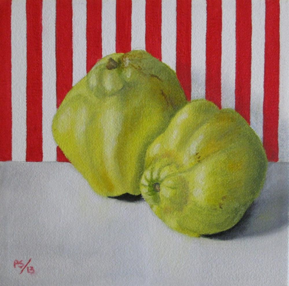 """""""Two Quinces on Red"""" original fine art by Pera Schillings"""