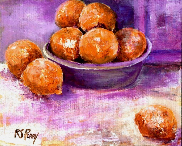"""Oranges in a bowl, unframed."" original fine art by R. S. Perry"