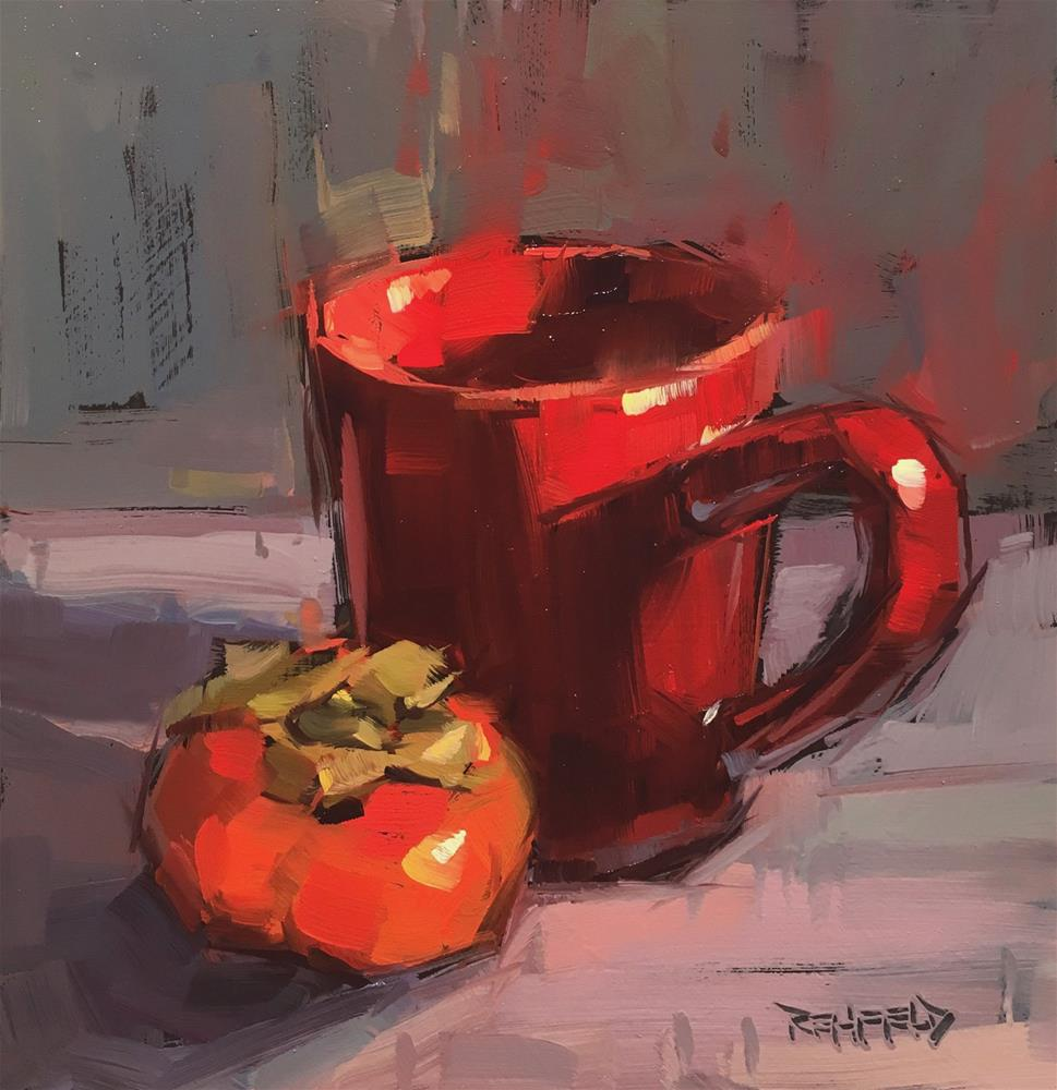 """""""Red Cup and Persimmon"""" original fine art by Cathleen Rehfeld"""