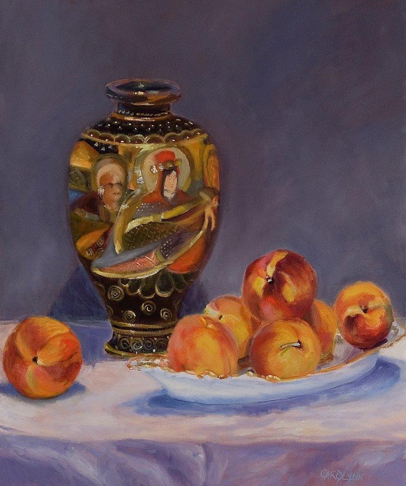 """Grandma's Vase and Peaches"" original fine art by Carolynn Doan"