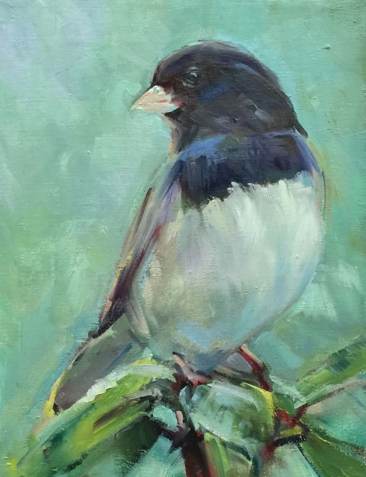 """""""A Cheerful Junco on a Chilly Day"""" original fine art by Patti McNutt"""