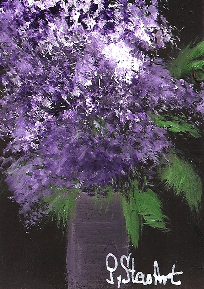 """""""ACEO, Lilacs a bouquet of Fresh Picked Flowers, Acrylic, Original, not a print"""" original fine art by Penny Lee StewArt"""