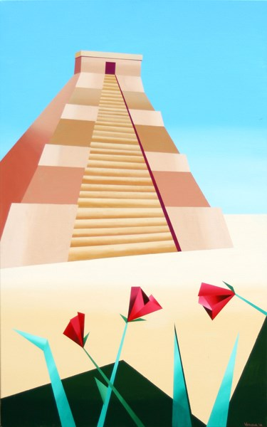 """""""Mark Webster - Abstract Geometric Pyramid Acrylic Painting"""" original fine art by Mark Webster"""