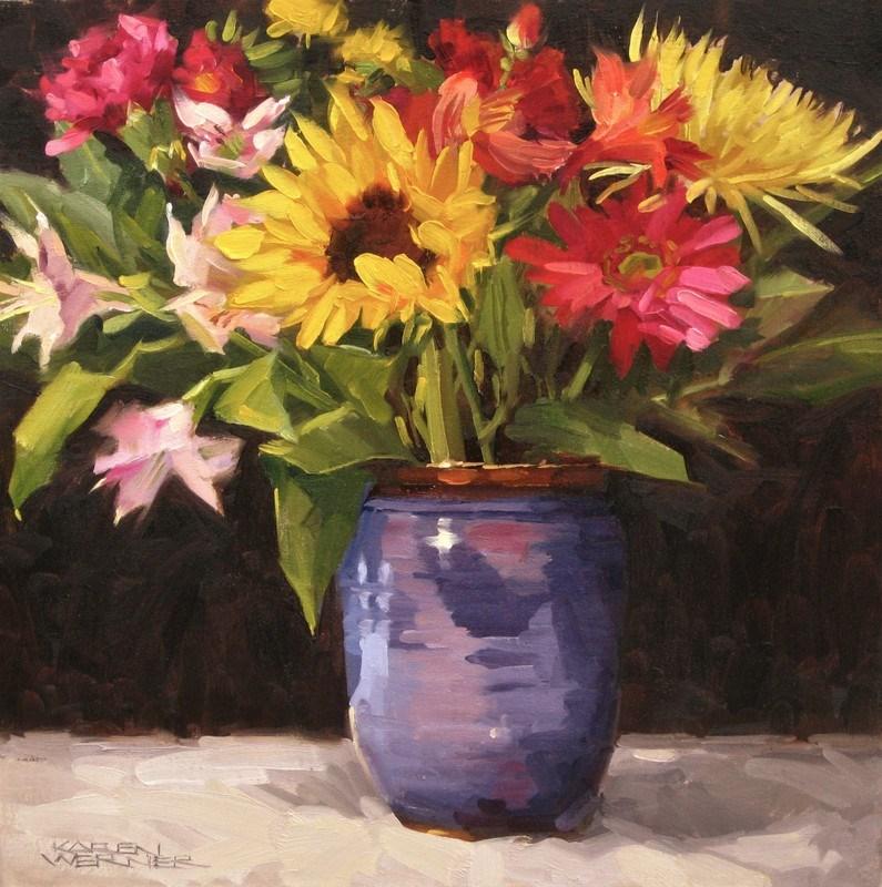 """""""Violet Vase Floral"""" original fine art by Karen Werner"""