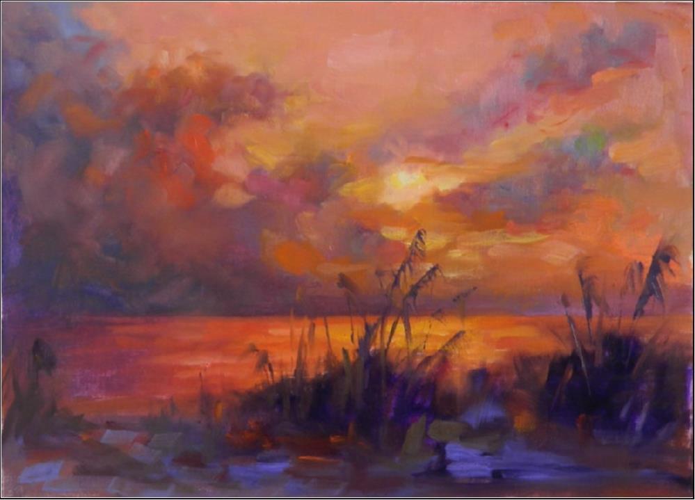 """Peaceful Waters, 12x16 , sunsets, Venice Florida, Beach, sea oats, southwest Florida scenes, last"" original fine art by Maryanne Jacobsen"