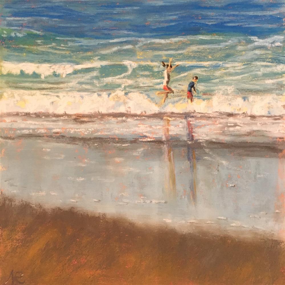 """Jumping in the waves"" original fine art by Natasha Ramras"