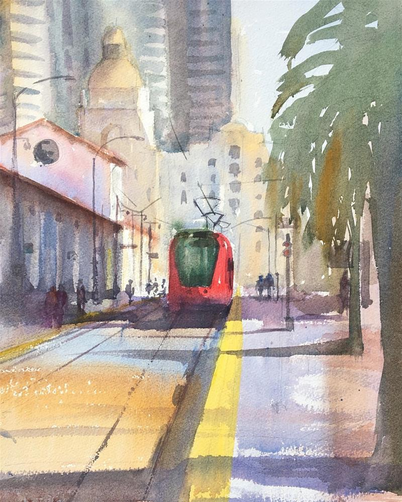 """Little Red Trolley"" original fine art by Katharine Engh"
