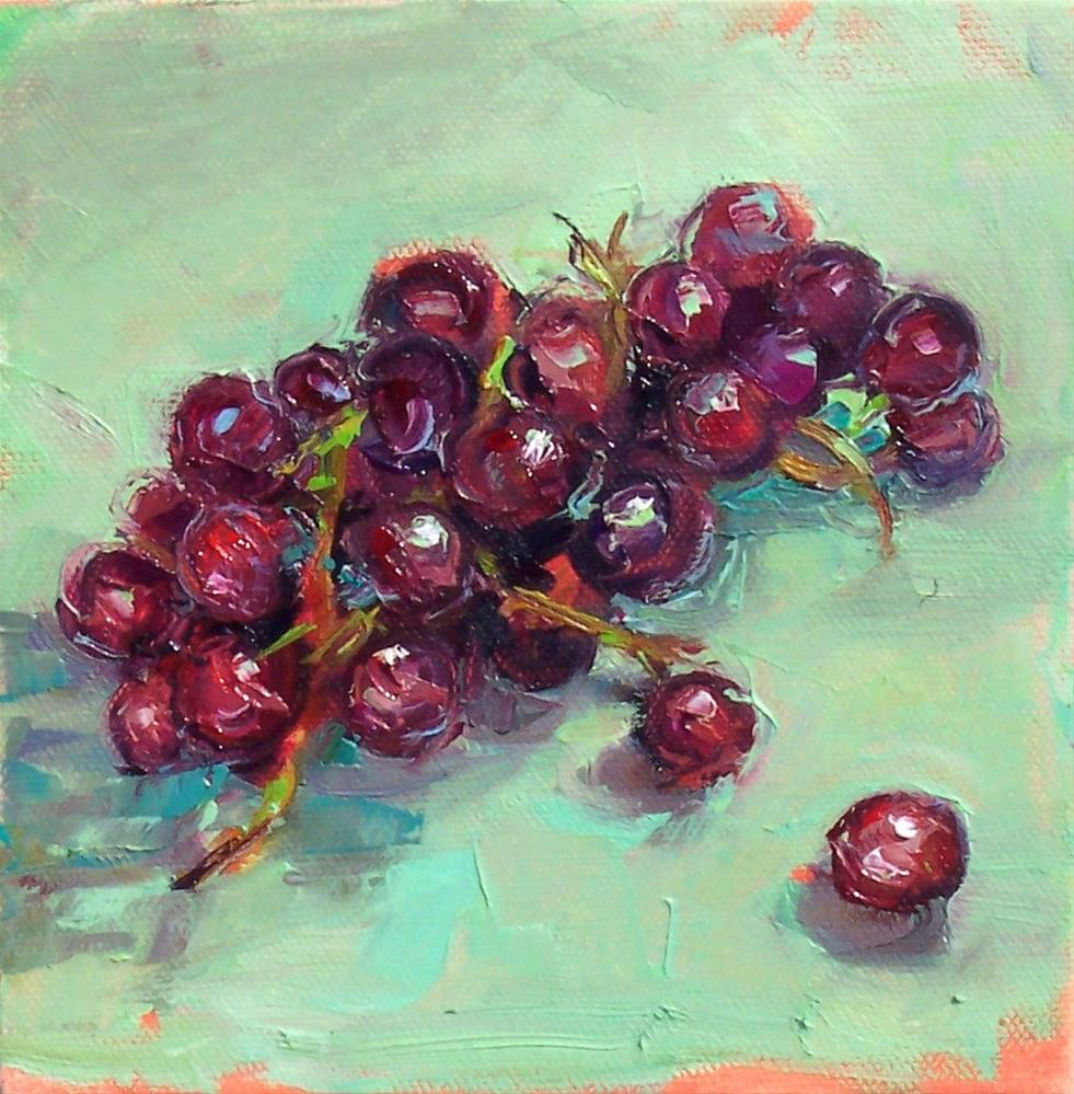 """Gloria's Grapes,still life,oil on canvas,6x6,priceNFS"" original fine art by Joy Olney"