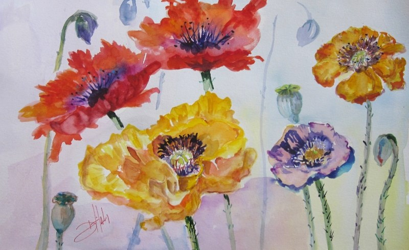 """""""Poppies in the Field"""" original fine art by Delilah Smith"""