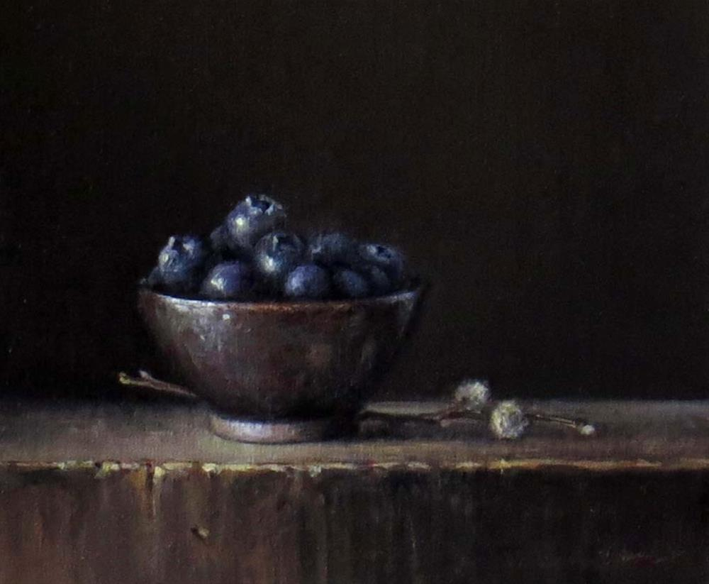 """""""Blueberries and Pussy Willow"""" original fine art by Darla McDowell"""