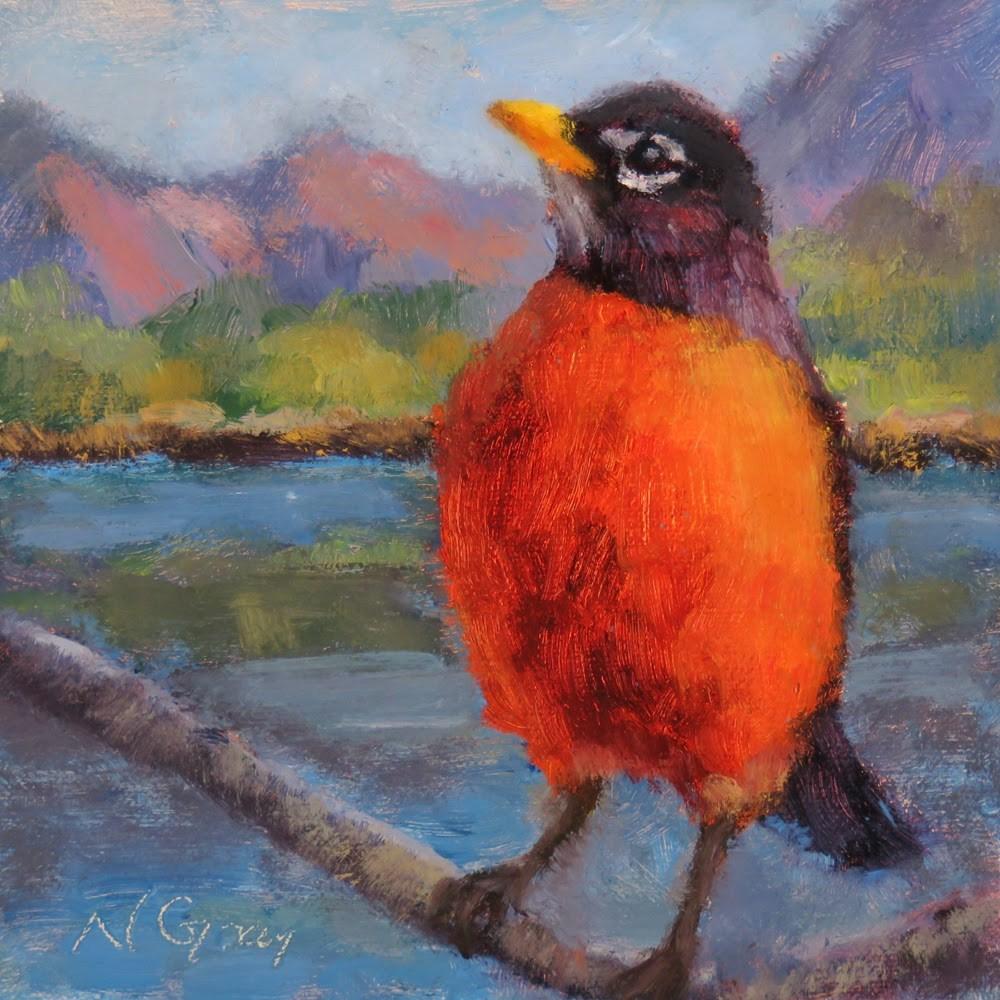 """Robin by the Lake"" original fine art by Naomi Gray"