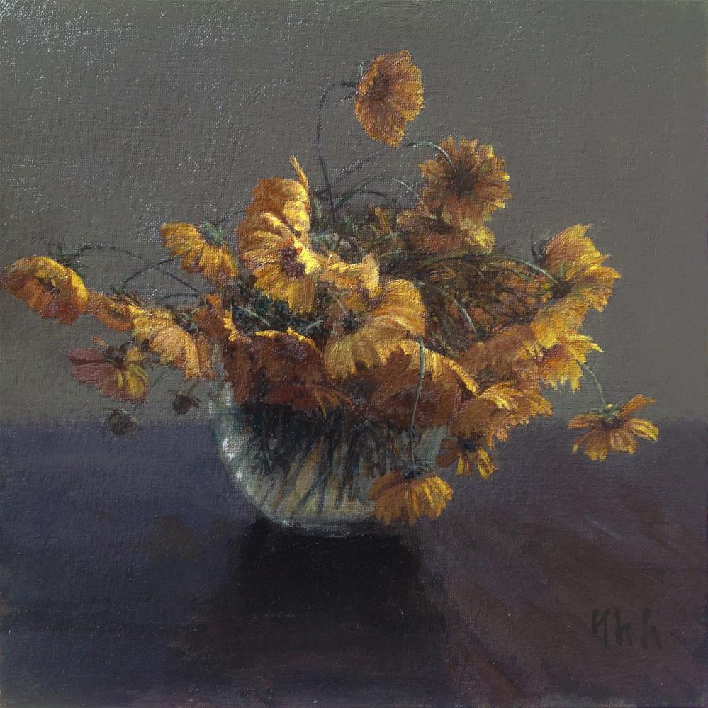 """Wildflowers"" original fine art by Yuehua He"