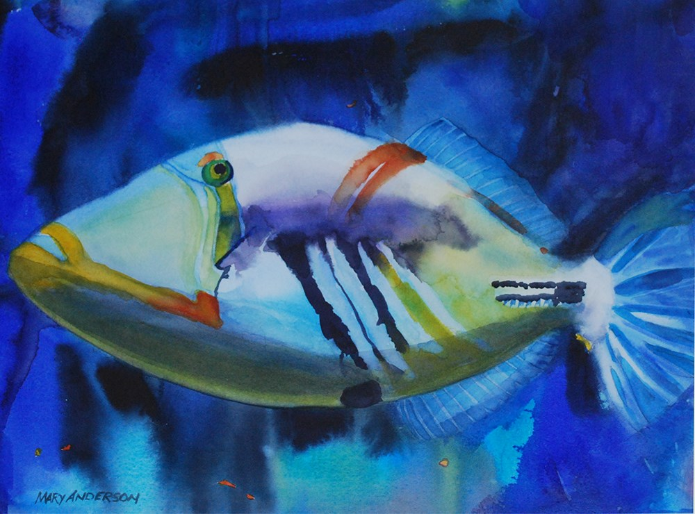 """Humuhumu"" original fine art by Mary Anderson"