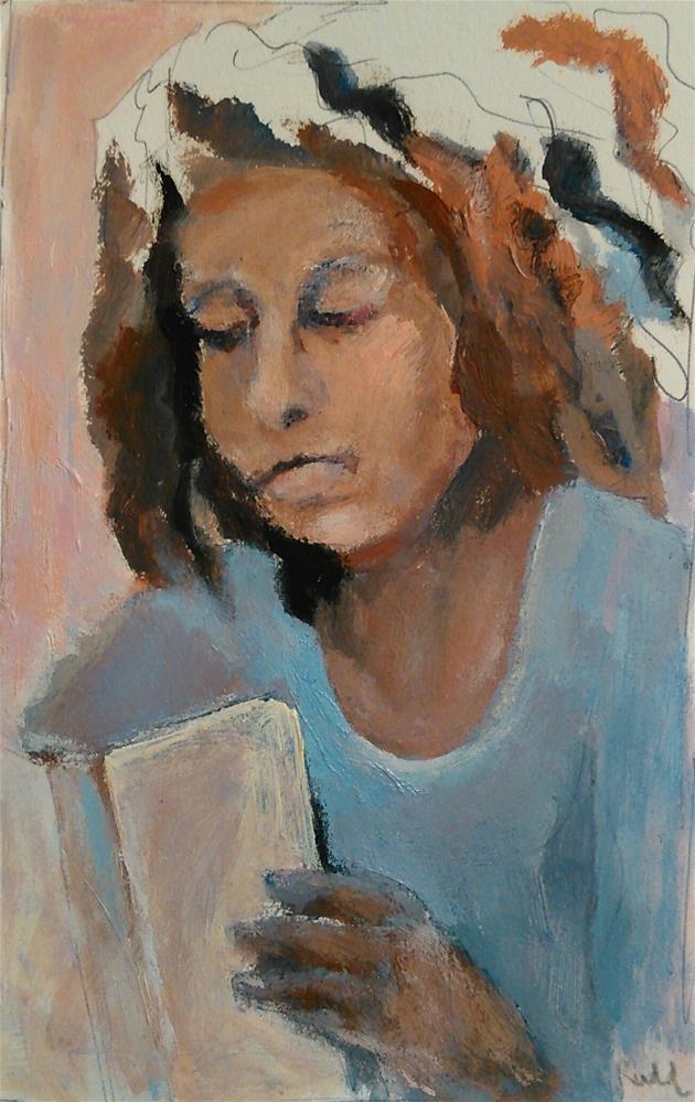 """Librarian"" original fine art by Ann Rudd"