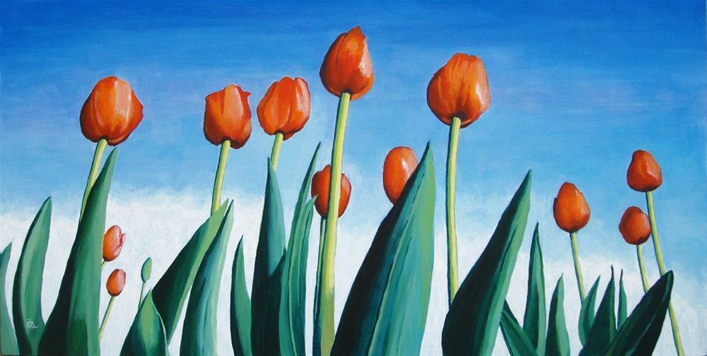 """tulip field painting"" original fine art by Ria Hills"