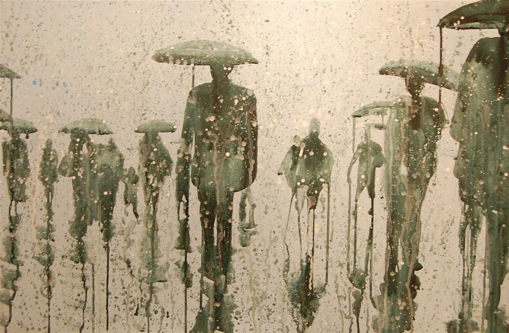 """rain city (people in the rain 5)"" original fine art by michael vigneux"