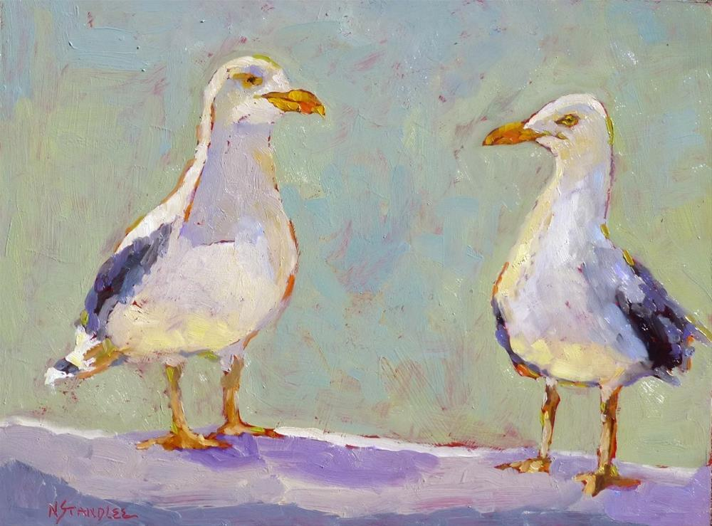 """Mr. and Mrs. Seagull 14045"" original fine art by Nancy Standlee"