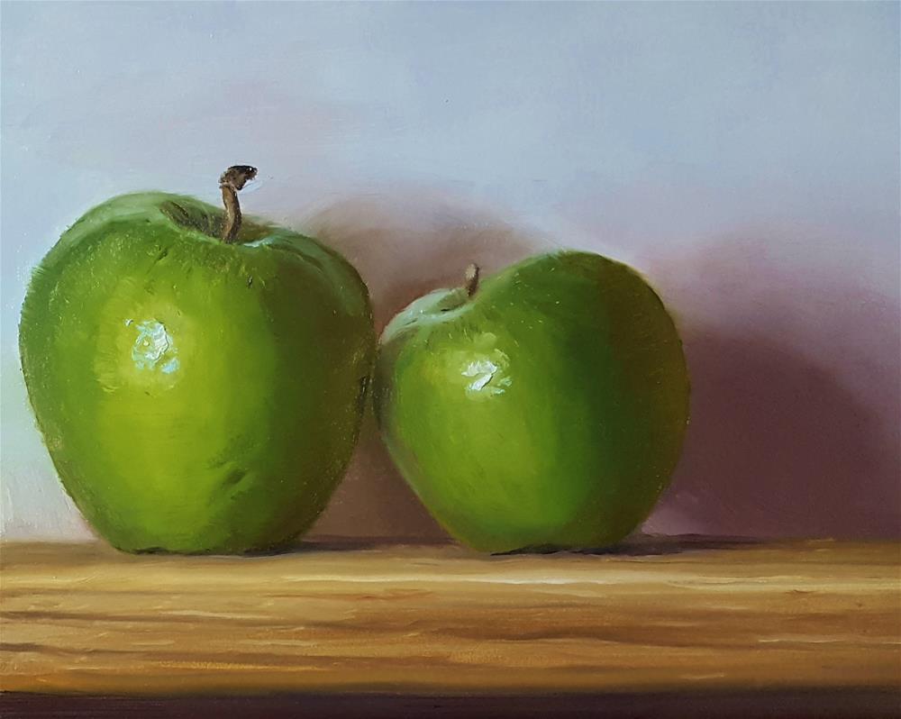 """""""Two Apples"""" original fine art by Dustin Klassen"""