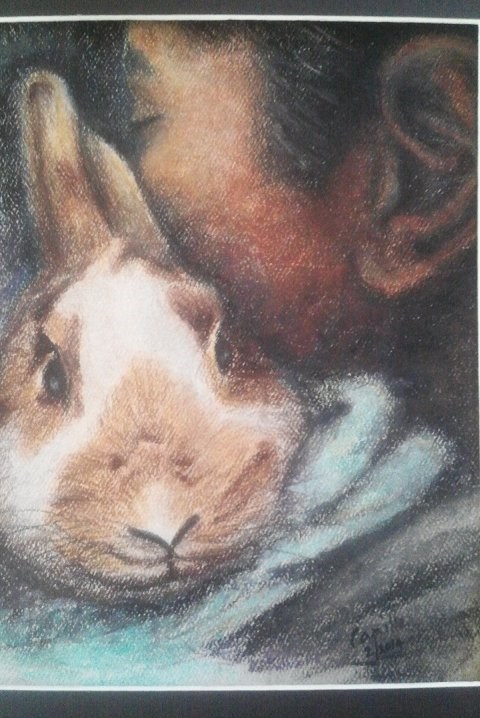 """""""Girl with Bunny"""" original fine art by Camille Morgan"""