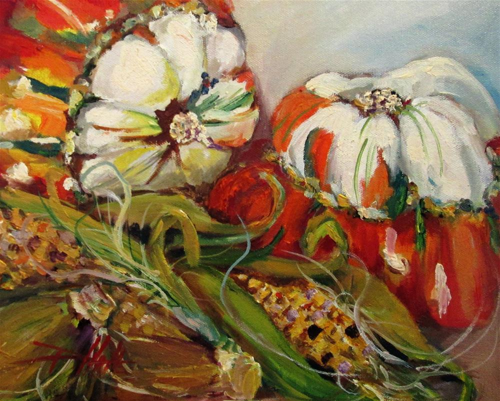 """""""Indian Corn and Squash"""" original fine art by Delilah Smith"""