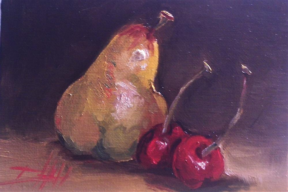 """Pears and Cherries"" original fine art by Delilah Smith"
