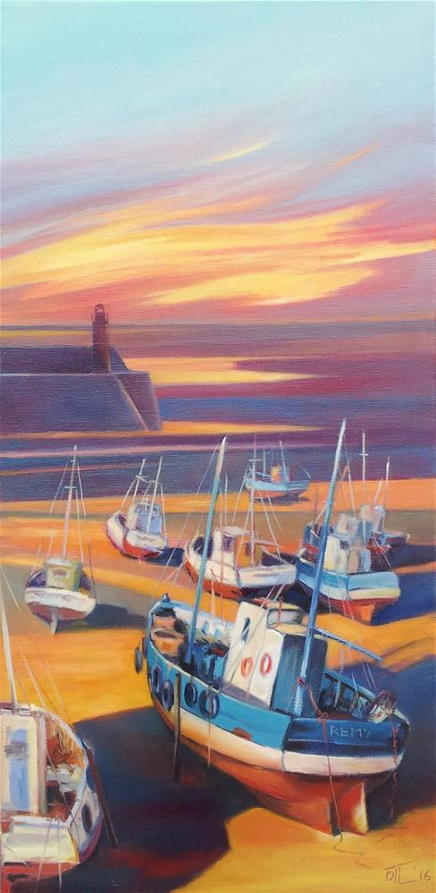 """Evening at a fishing port"" original fine art by Olga Touboltseva-Lefort"