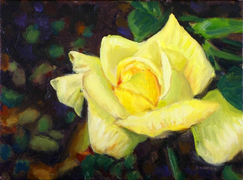 """Yellow Rose II"" original fine art by Daniel Fishback"