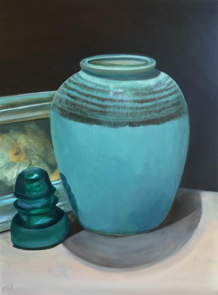 """Turquoise with Glass Insulator"" original fine art by Karen Stitt"