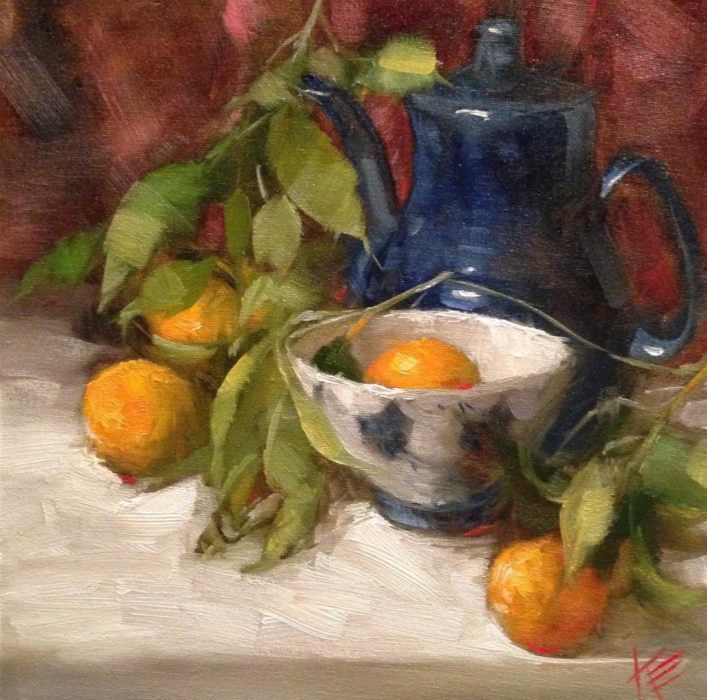 """Oranges with Blue teapot"" original fine art by Krista Eaton"