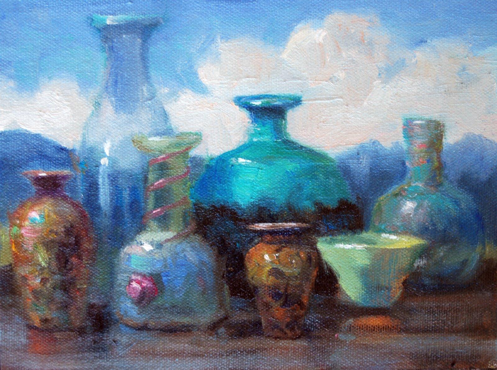 """""""Vessel Study l & ll"""" original fine art by Julie Ford Oliver"""