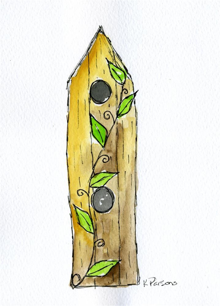 """""""Birdhouse with a Vine"""" original fine art by Kali Parsons"""
