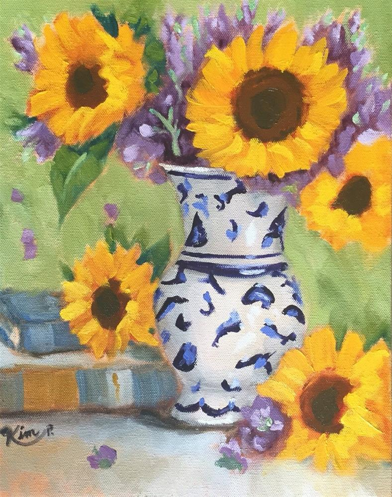 """""""Still Life with Sunflowers in Blue and White Vase and Books"""" original fine art by Kim Peterson"""