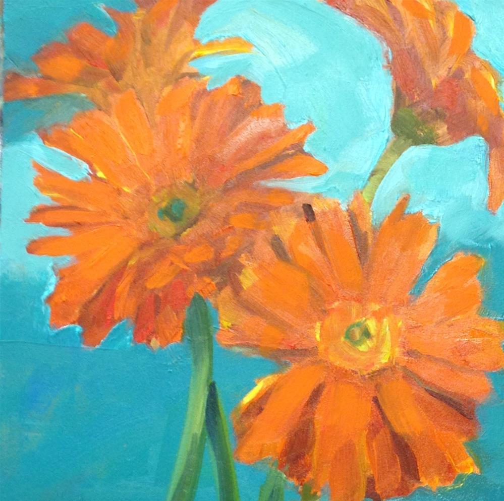 """Sunshine In A Vase, 6x6 Inch Oil Painting by Kelley MacDonald - Gerbera Flowers"" original fine art by Kelley MacDonald"