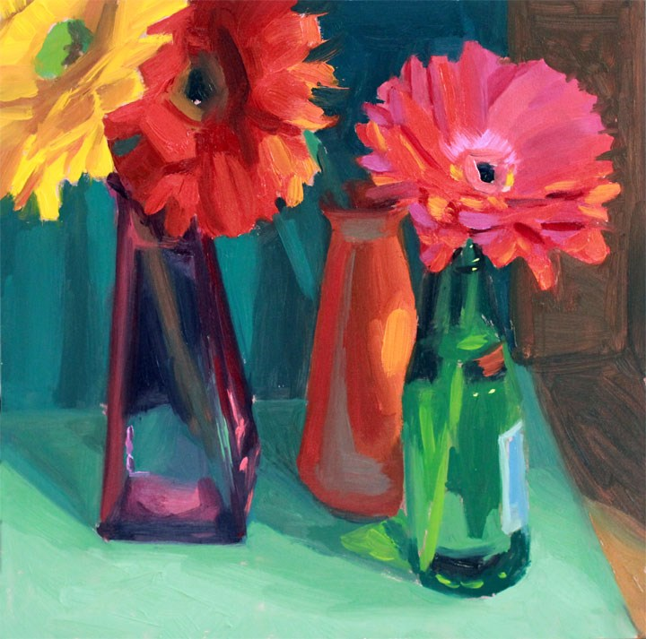"""""""Daisies and Painted Glass"""" original fine art by Nealy May Riley"""