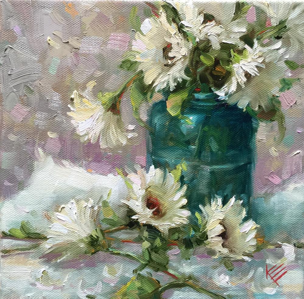 """Daisies in Blue Jar"" original fine art by Krista Eaton"