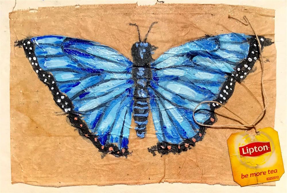 """Tea Bag Painting Blue"" original fine art by Linda Blondheim"