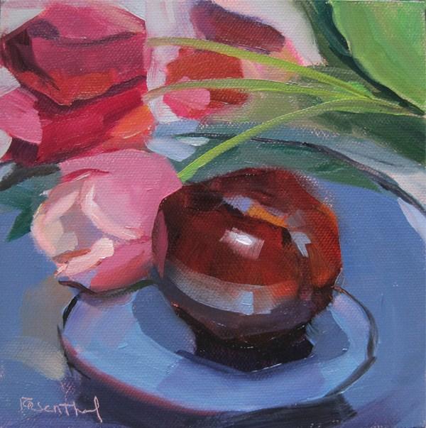 """Plum & Tulips"" original fine art by Robin Rosenthal"
