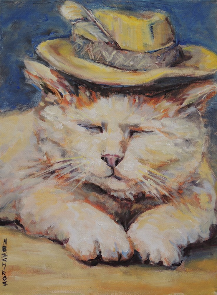 """Feather in the Hat"" original fine art by Mary Schiros"