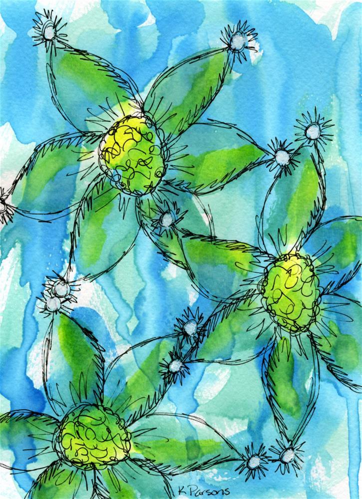 """Blue Green Trio"" original fine art by Kali Parsons"