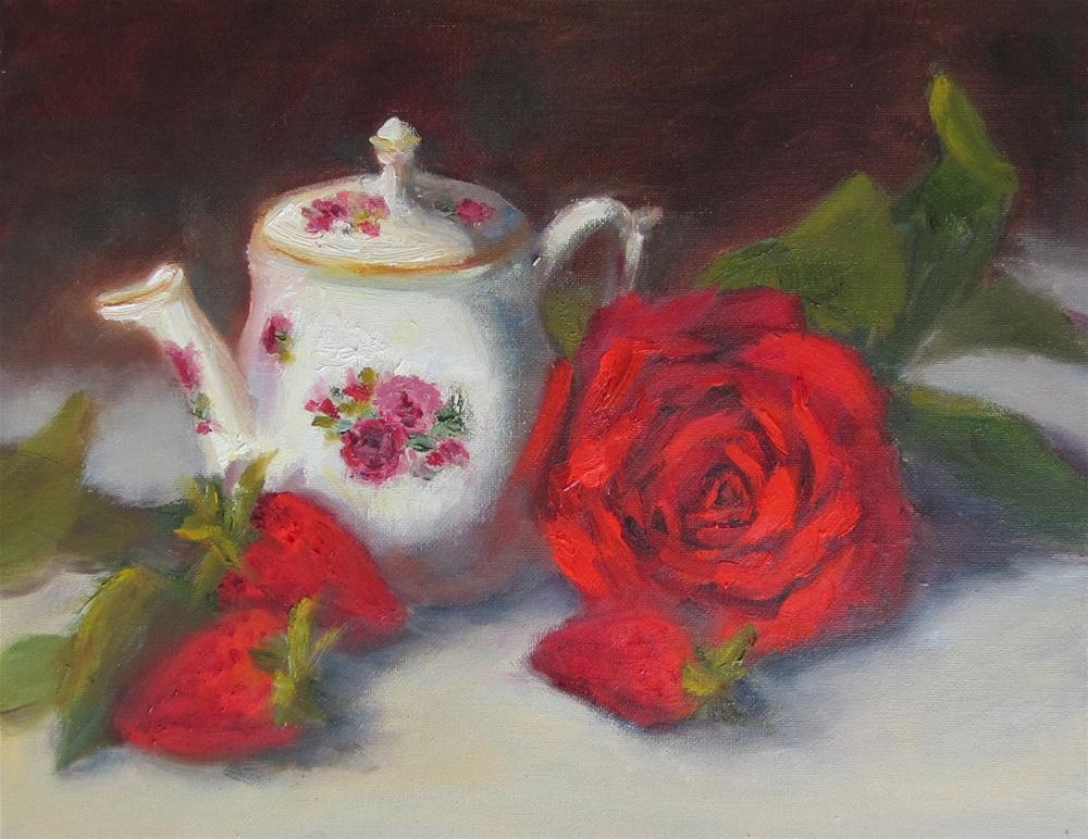 """Teapot and Reds"" original fine art by Pat Fiorello"