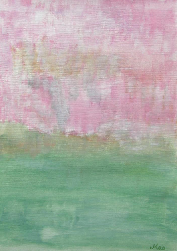 """""""Pink Green Spring Abstract"""" original fine art by Alina Frent"""