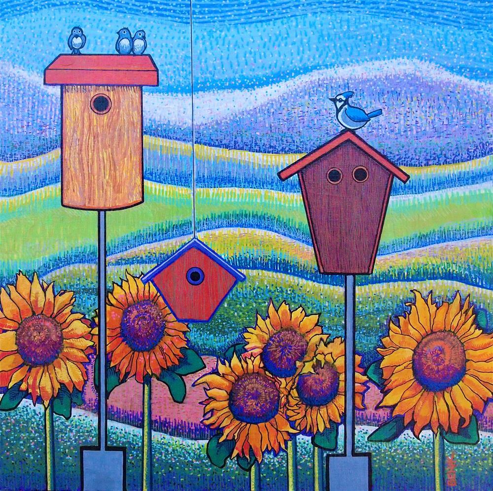 """Confetti Landscape with Birds"" original fine art by Barbara Benik"