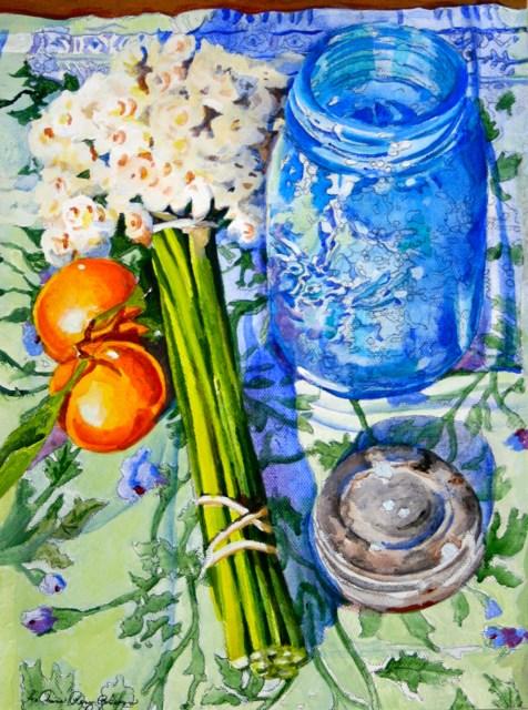 """Blue Jar and Tangerines"" original fine art by JoAnne Perez Robinson"