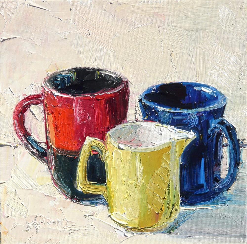 """Jug ansd Mugs,still life,oil painting,8x8,price$200"" original fine art by Joy Olney"