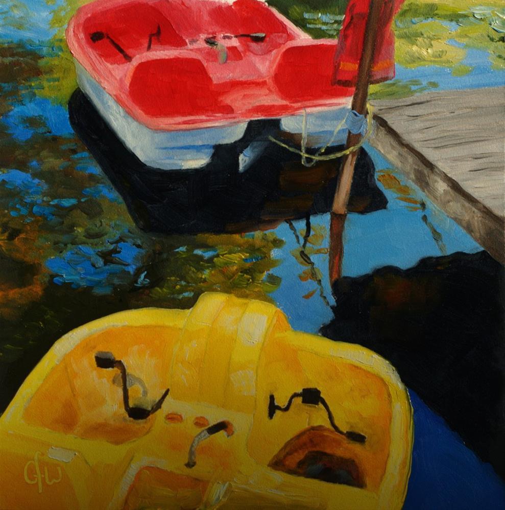 """Paddleboats on the Lake"" original fine art by Gary Westlake"