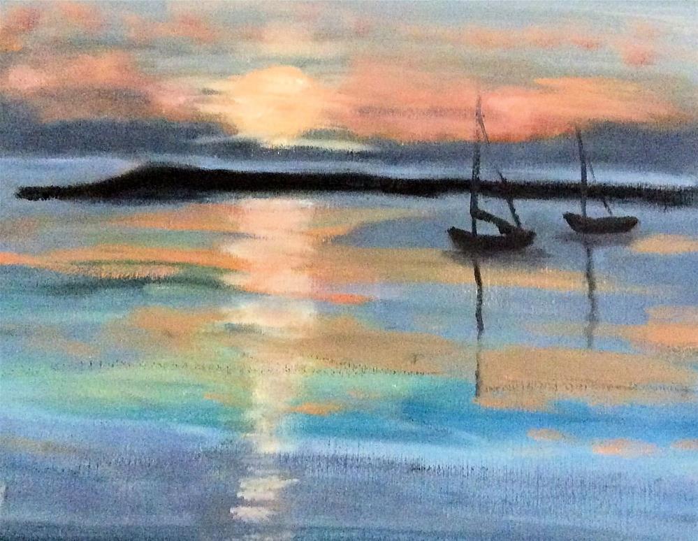 """""""Boat Meadow Creek Sunset"""" original fine art by Patty Barnes"""