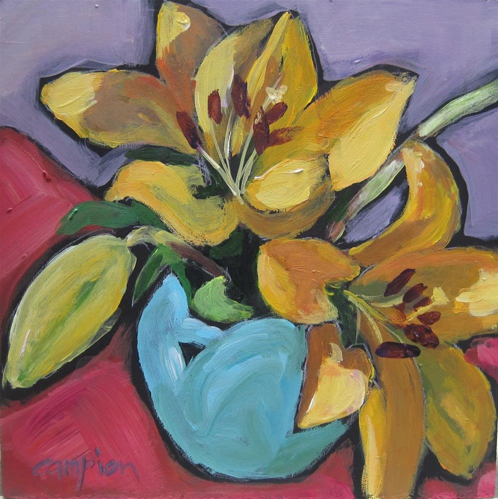 """""""114 Two Lilies and a Bud in a Van Briggle Vase"""" original fine art by Diane Campion"""